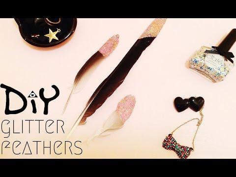 DIY glitter feathers