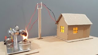 How to make working model of an electrical generator for a cardboard house using a stirling engine
