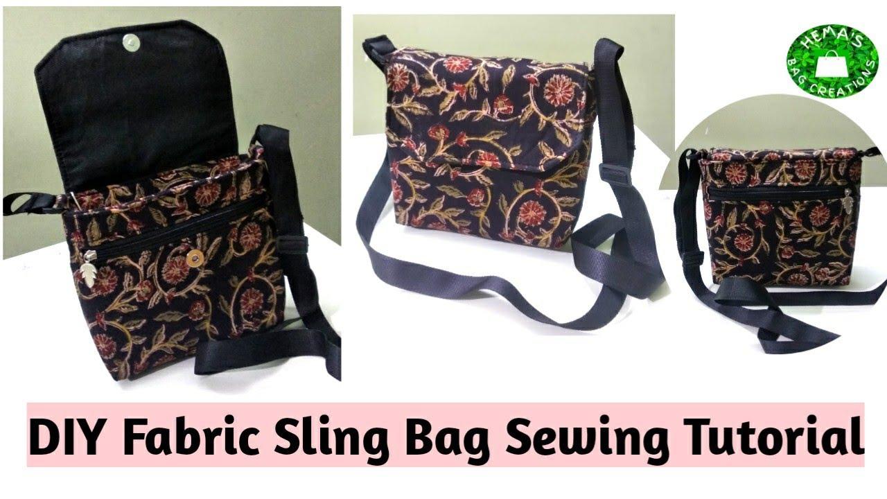 DIY How To Stitch Fabric Sling Bag At Home #sidebag #crossbodybag #slingbag Sewing Tutorial #sling
