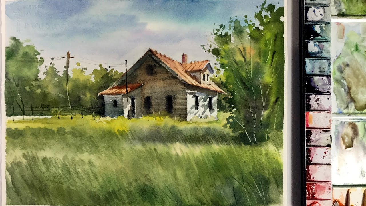 Watercolor Landscape Painting : little house in the Meadow ...