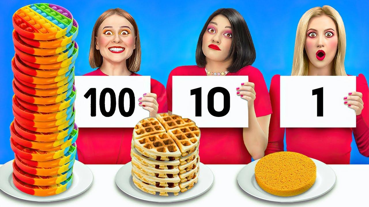 تحدي المائة طبقة! || 100 طبقة من الماكياج والطعام والأشياء المختلفة
