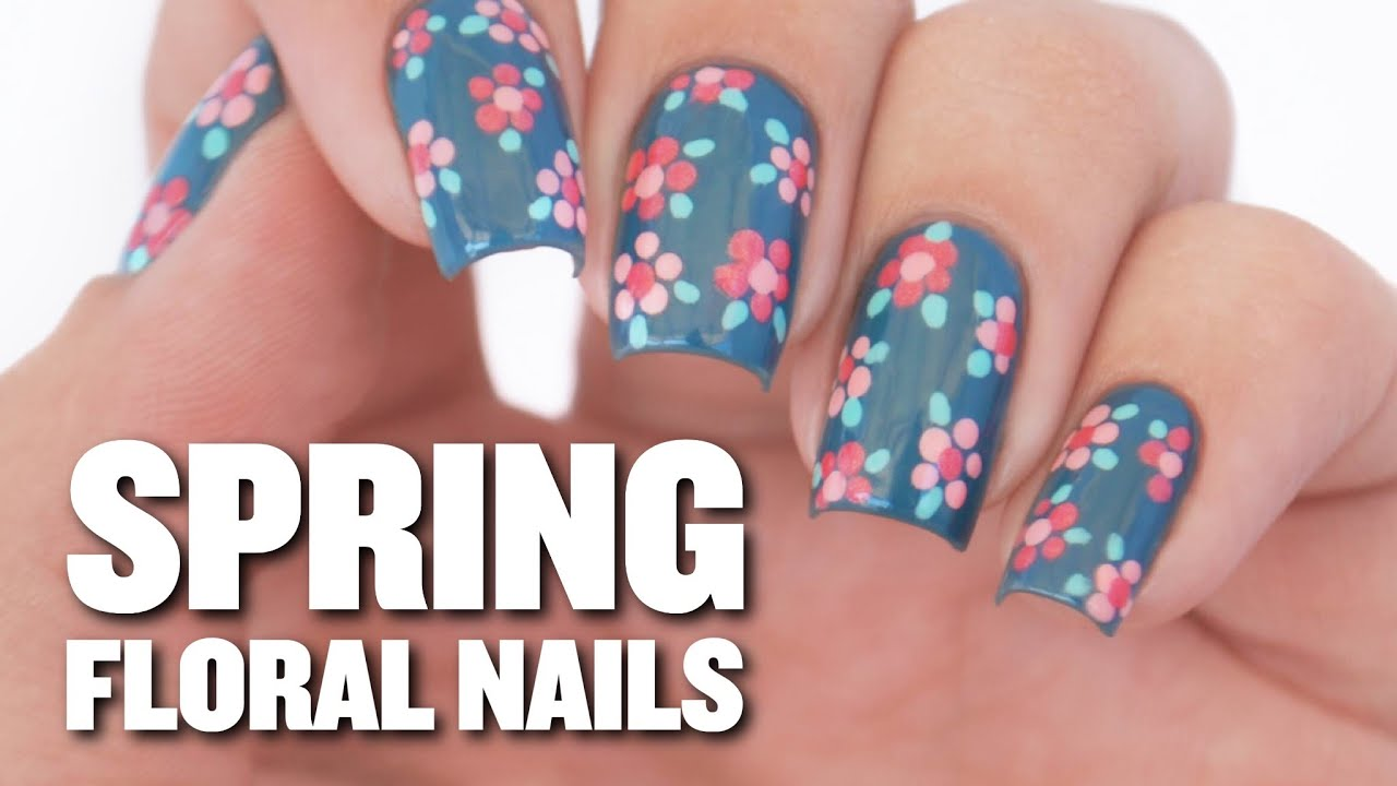 Easy spring floral nail art design youtube prinsesfo Images
