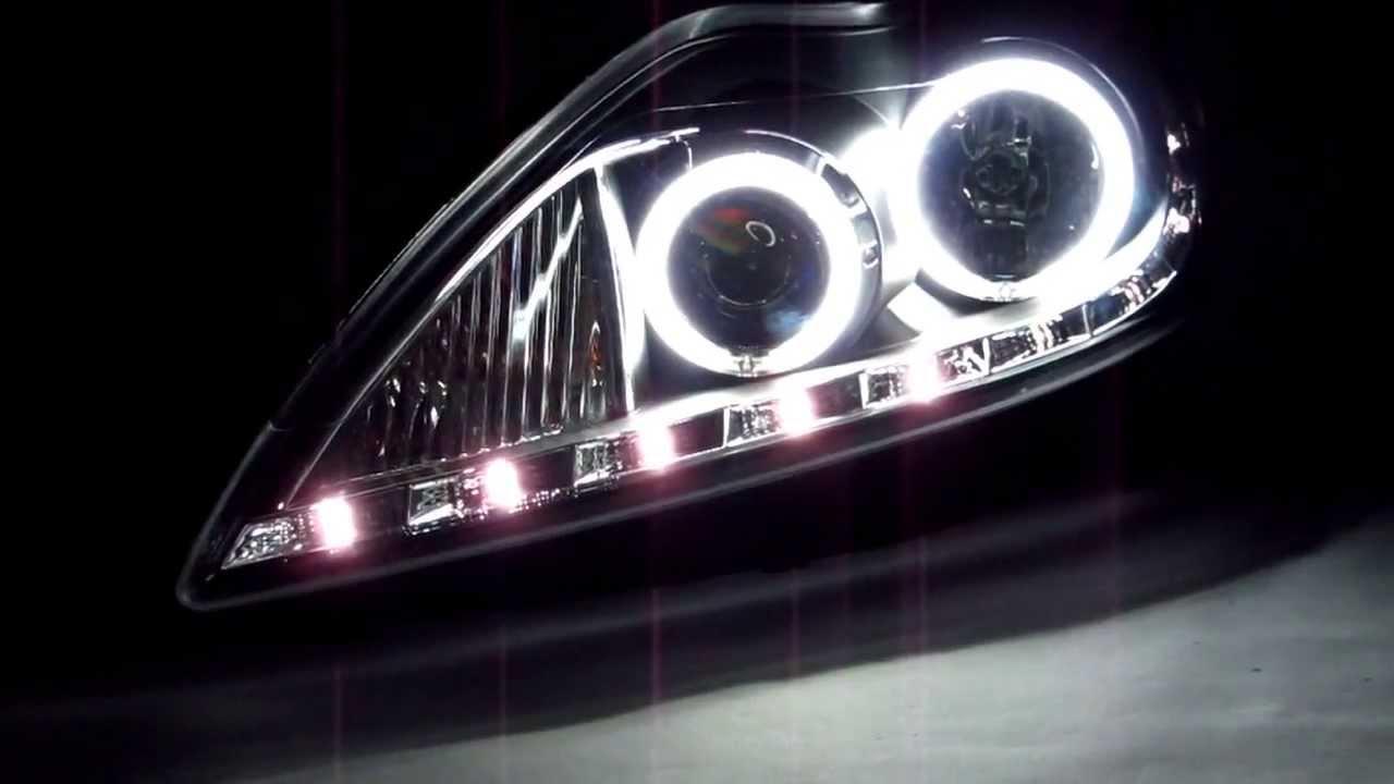 Ford Focus St 2008 >> CrazyTheGod Focus 2008-2010 CCFL Angel-Eye Projector R8Look HEADLIGHT Black for FORD - YouTube
