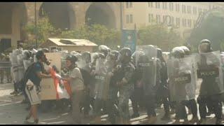 Beirut blast : protestors on street .