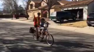Ben A. riding the Buddy Bike he earned in Great Bike Giveaway 2017