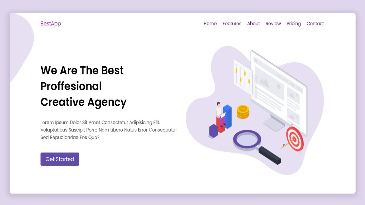 App Landing Page Website Design Using Html CSS | Step by Step Website Tutorial
