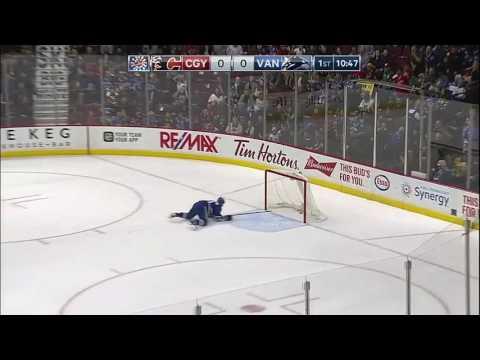 Canucks score in own net vs Flames 10/15/16