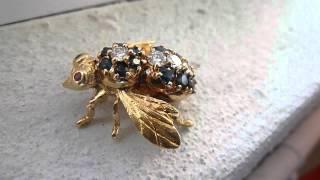 18k Gold Fly Diamonds Sapphires Rubies Brooch Broach Pin