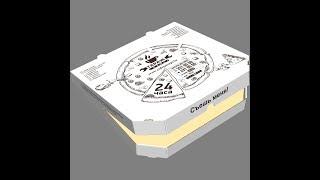 видео сборки коробки для пиццы конструкции крышкой наружу
