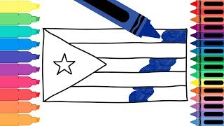 How to Draw Cuba Flag - Drawing the Cuban Flag - Coloring Pages for kids | Tanimated Toys