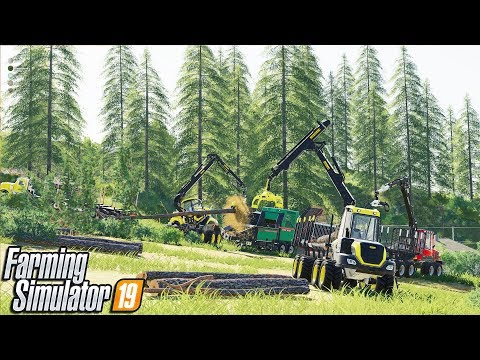 NEW MAP - Grizzly Mountain LOGGING | Full Crew Logging & Spintires Vehicles | Farming Simulator 19