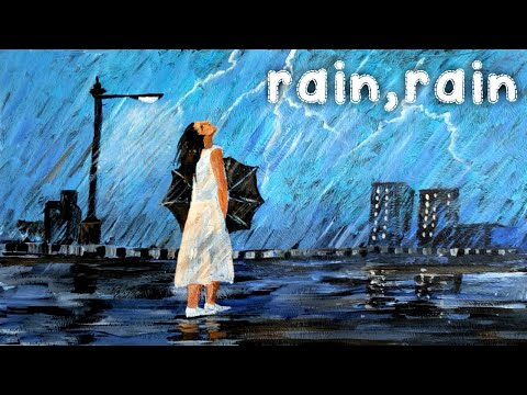 Acrylic Landscape painting of a rainy day | acrylic painting for beginners | easy scenery drawing