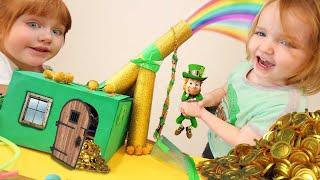 KiDS Leprechaun TRAP!!  Adley & Niko make a St Patrick's Day hidden gold slide box! family DIY craft