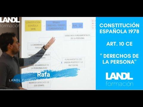 Constitución española 1978 para oposiciones y esquema artículo 10 título primero