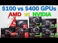AMD vs NVidia — $100 to $400 Graphics Card — Which Should You Buy? — 8 Card Comparison