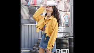 Женская короткая джинсовая куртка повседневная куртка карамельных цветов в стиле ретро весна 2021
