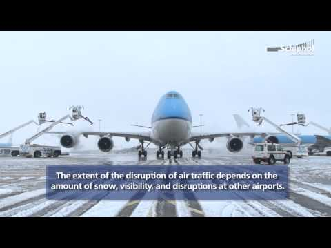 Snow at Amsterdam Airport Schiphol