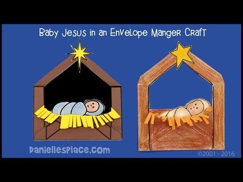 Baby Jesus in a Manger Envelope Craft for Kids