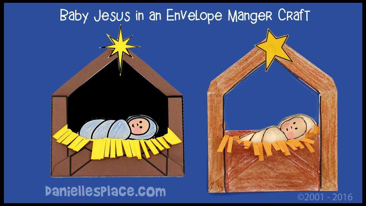 Baby Jesus in a Manger Envelope Craft for Kids - YouTube