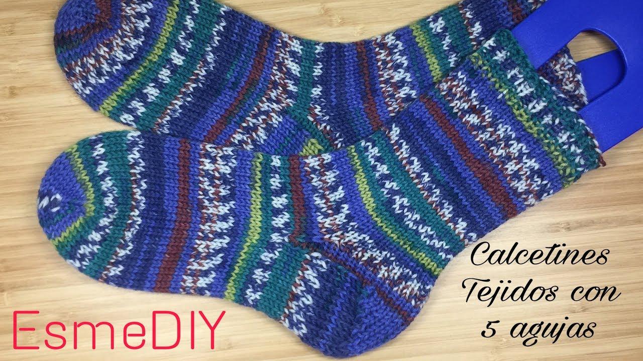 Como tejer Calcetines con 5 agujas (toe up socks) parte 1 - YouTube