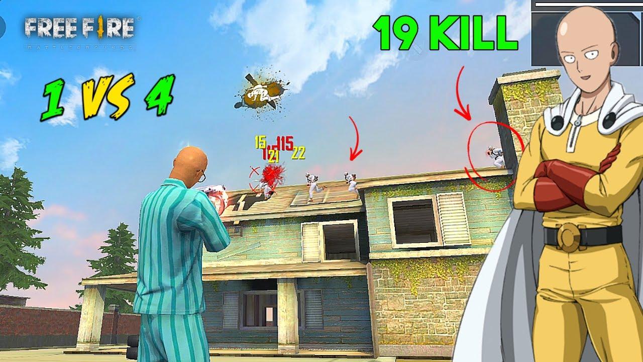 Solo vs Squad Saitama 19 Kill Thompson OverPower Ajjubhai Gameplay - Garena Free Fire
