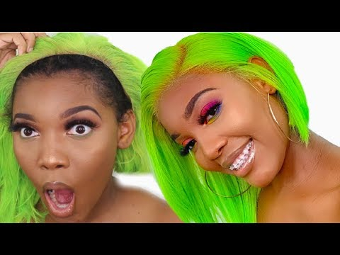 REVEALING THE TEA ON THIS ALIBABA HAIR VENDOR 🤭/ SLIME GREEN LACE FRONTAL WIG INSTALL