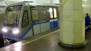 EMU 87-740.4/740.4 departs Komsomolskaya station, Moscow metro.
