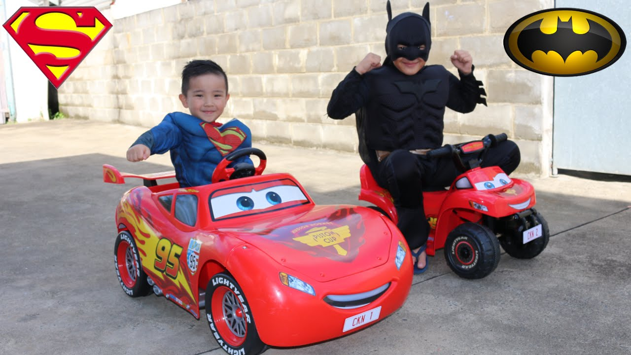 disney cars lightning mcqueen kids ride on epic race with batman and superman ckn toys youtube