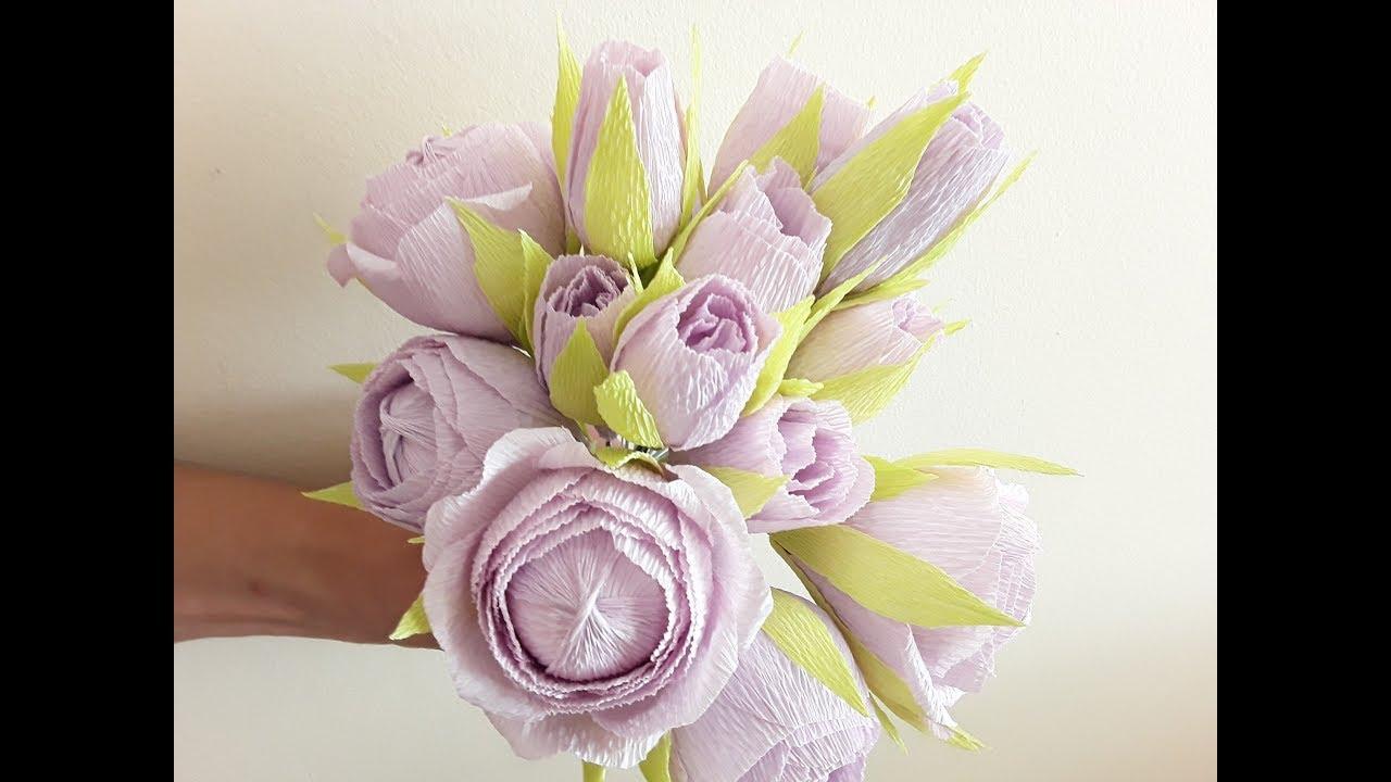 Diy Small Crepe Paper Flowers Tutorial Part Ii Youtube