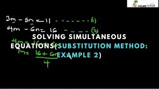 Solving Simultaneous Equations by Substitution Method: Example 2