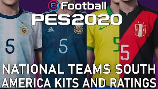 PES 2020 - South America national teams kits and ratings