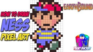 How to Draw Ness - EarthBound SNES 16-Bit Pixel Art Drawing Tutorial