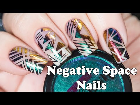 Negative Space Nails with Multichrome Powders