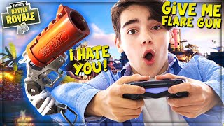 """STEALING *NEW* """"FLARE GUN"""" FROM ANGRY NOOB ON FORTNITE! (Funny Fortnite Trolling)"""