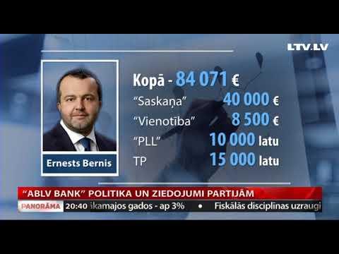 """""""ABLV bank"""" politika un ziedojumi partijām"""