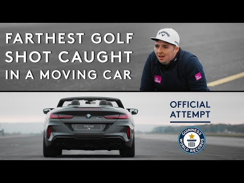 Farthest golf shot caught in a moving car | Guinness World Records 2021