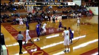 #33 Bryce Fitzner makes a nice hook shot for Francis Parker