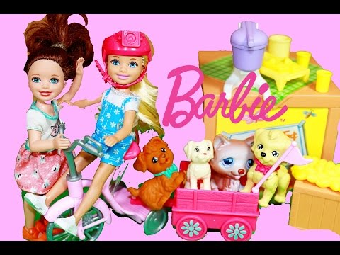 Barbie Baby Sister Chelsea Pup Mobile Puppies Kelly Lemonade Stand Dog Wagon Barbie Toys Doll Video