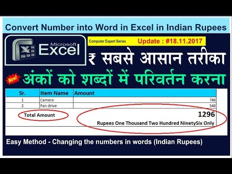 How to Convert Number into Word in Excel in Indian Rupees