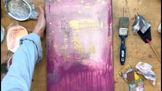 abstraktes Bild mit Goldfolie, für Anfänger, in Acryl, Anleitung, Inspiration