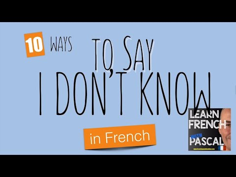 They didnt know in french
