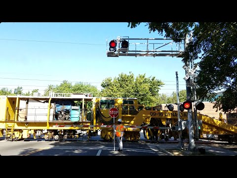 T Street Railroad Crossing, UP MoW Tampers and Regulators Meet Sacramento Light Rail Blue Line
