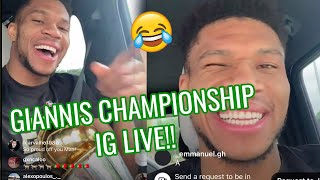 Giannis Antetokounmpo HILARIOUS IG Live After Winning Championship! Orders 50 Nu