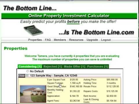 The Bottom Line Property Investment Calculator - Back Office Tour