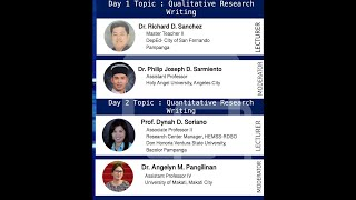 Day 2 - FROM CONCEPTUALIZATION to DISSEMINATION: A 2-day Webinar on Quali \u0026 Quanti Research Writing