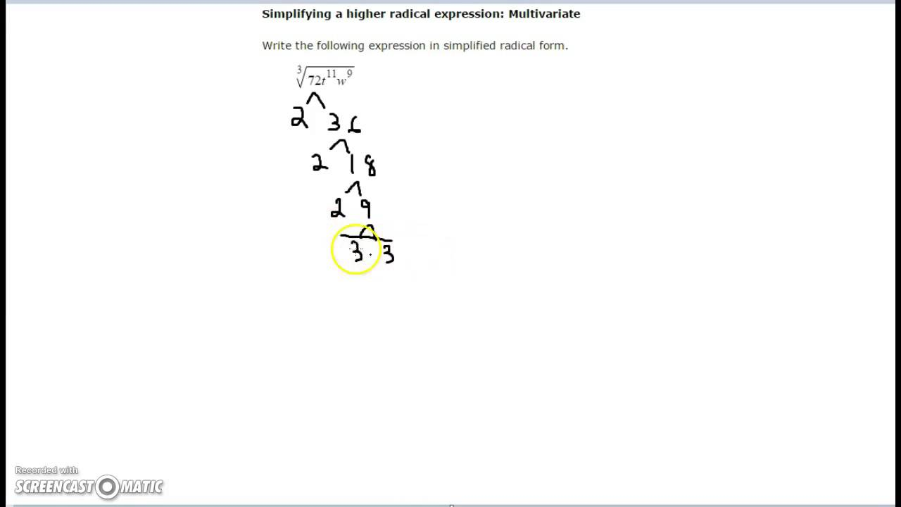 Simplifying a higher radical expression: Multivariate - YouTube