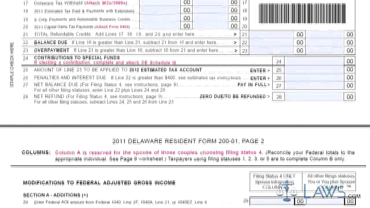 Form 200 01 X Resident Amended Delaware Personal Income Tax Return ...