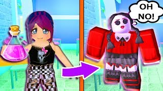 I DRANK THE POTION AND TURNED INTO A CREEPY DOLL! Roblox Enchanted Academy | Roblox Roleplay