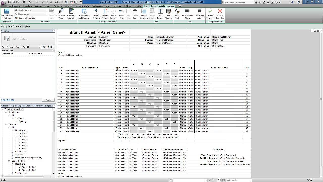 revit for mep - electrical systems - panel templates