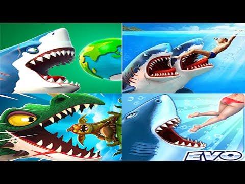 Hungry Shark World VS Double Head Shark Attack VS Hungry Dragon VS Hungry Shark Evolution 2019 FHD